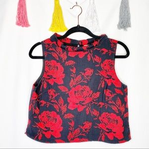 NY&C Red and Black Floral Print Sleeveless Blouse